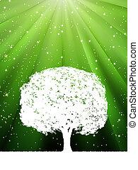 éclater, arbre, eps, vert, 8, ton, design.