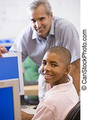 école, élevé, informatique, pourparlers, utilisation, prof, écolier