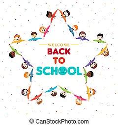 école, étoile, dos, forme, groupe, enfants, carte