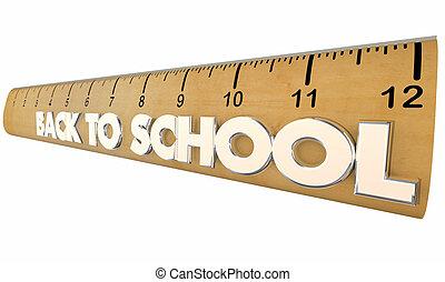 école, étudiants, règle, dos, illustration, apprentissage, education, 3d