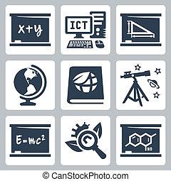 école, algèbre, géométrie, icônes, écologie, biologie, astromomie, vecteur, physique, géographie, chimie, ict, sujets, set: