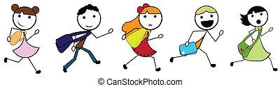 école, aller, enfants, dessin animé, crosse