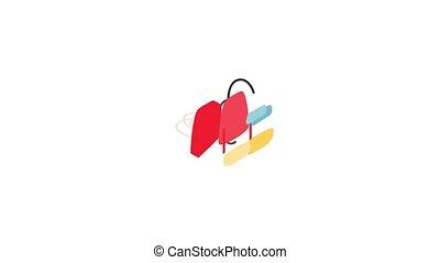 école, animation, icône, sac à dos