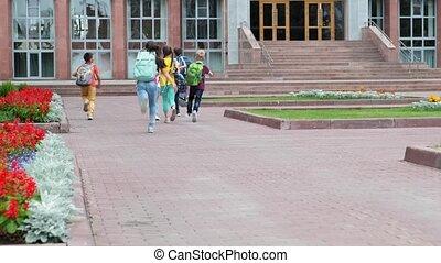 école, bâtiment, écoliers, course, junior, sacs dos