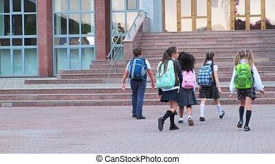 école, bâtiment, étudiants, étapes, promenade, pierre, uniforme
