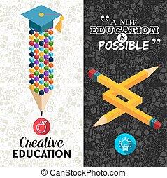 école, bannière, dos, créatif