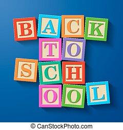 école, blocs, dos