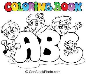 école, coloration, lettres, livre, abc