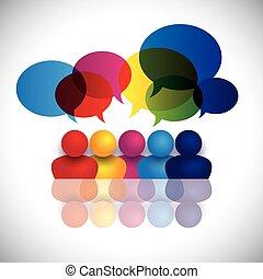 école, concept, bureau, gosses, conversation, vecteur, réunion, ou, personnel