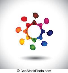 école, concept, gosses, conversation, vecteur, employé, réunion, ou, cir