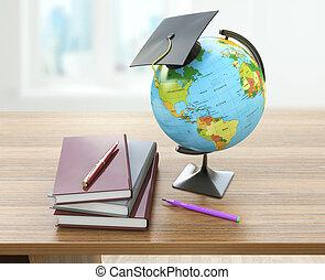 école, concept, manuels, globe, mortier, concept., pencils., homeschooling, education, planche