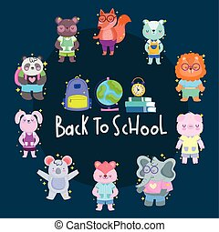 école, conception, vecteur, cercle, icônes, dessins animés, dos, animaux