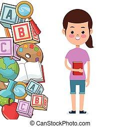école, cube, pomme, palette, livre, étudiant, outils