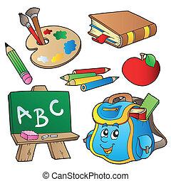 école, dessins animés, collection