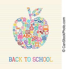 école, dos, illustration, pomme