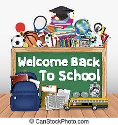 école, education, outils, dos, tableau