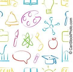 école, ensemble, coloré, papier peint, seamless, objets