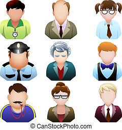 école, ensemble, gens, icône