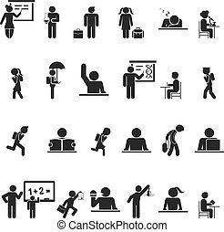 école, ensemble, silhouette, icônes, noir, enfants
