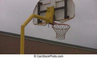 école, extérieur, yard, zoom, basket-ball, closeup, filet, dehors