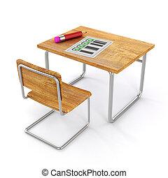 école, fond, bureau, blanc, chaise, 3d