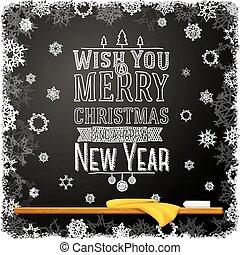 école, heureux, joyeux, souhait, chalkboard., nouveau, noël, message, année, vous, écrit