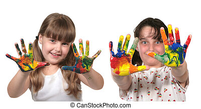 école, heureux, peinture, enfants, mains