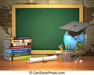 école, manuels, g, mortier, concept., tableau noir, planche, education