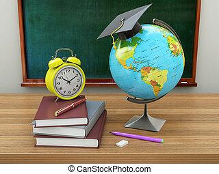 école, manuels, mortier, concept., tableau noir, pencils., illustration, planche, education, globe, 3d