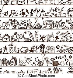 école, modèle, main, conception, dessiné, ton
