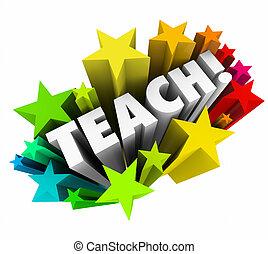 école, mot, étoiles, prof, collège, apprentissage, enseigner, education, prof