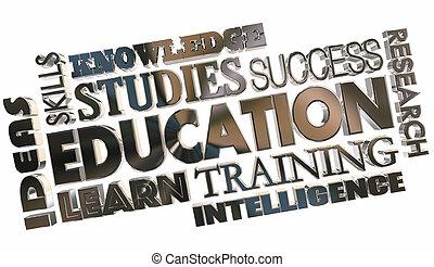 école, mot, collage, formation, illustration, apprentissage, education, 3d