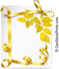école, or, feuilles, dos, jaune, automne, vecteur, illustration, fond, ribbons.