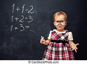 école, planche, craie, pupille, dorlotez fille, lunettes, arithmétique, exemples