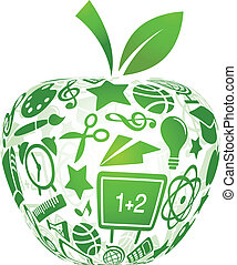 école, pomme, icônes, -, dos, education
