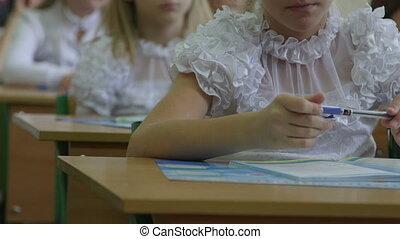 école, primaire, écolières