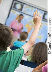 école primaire, demander, question, pupille