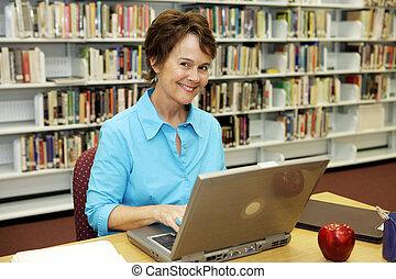 école, -, prof, bibliothèque