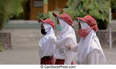 école, raiser, drapeau, indonésien, portrait, élémentaire