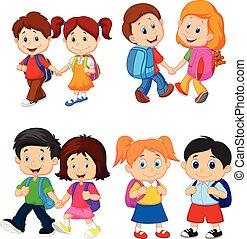 école, sacs dos, dessin animé, enfants