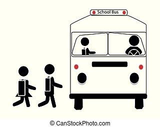 école, simple, autobus, étudiants, vecteur, icône