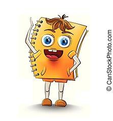 école, smilling, caractère, cahier, vector., concepts, dessin animé, heureux