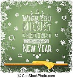 école, souhait, écrit, message, joyeux, année, chalkboard., nouveau, vous, noël, heureux