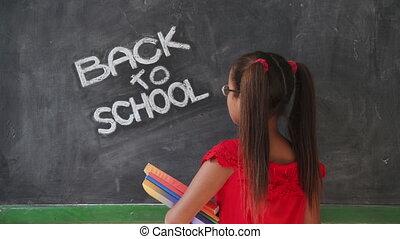 école, sourire, livres, tenue, girl, education, classe, heureux