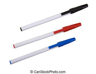 école, stylos, trois