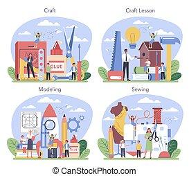 école, tenue, étudiant, education, tools., prof, set., art, apprentissage