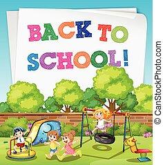 école, thème, enfants, dos, cour de récréation