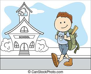école, vecteur, -, dos, gosse