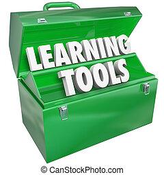 écolier, apprentissage, mots, enseignement, boîte outils, education, outils