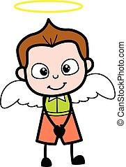 écolier, dessin animé, costume ange